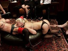 Tough and racy in-house training for two curvy and alluring slaves