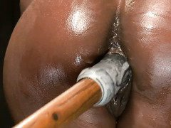 Demure ebony could not control her orgasms with master's skillful torment