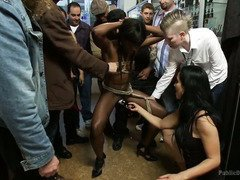 Captivating ebony faces wicked public humiliation in two different locations