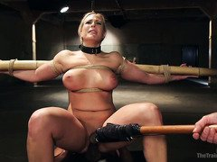 Screaming blonde slave needs to train her pain processing capabilities today