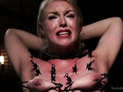 Demure blonde is begging master as her whole body is burning with needs to climax