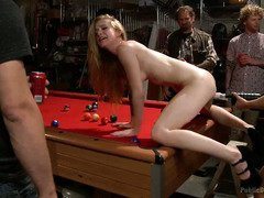 Cute blonde receives unchaste and extreme humiliation on top of a pool table