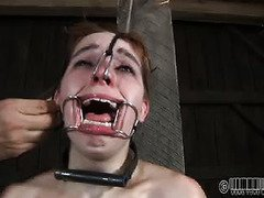 Short-haired brunette broke down crying during master's grueling whipping punishment