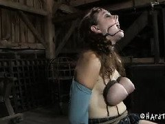 Giggling brunette is turned into a piggy slave during her tumultuous punishment