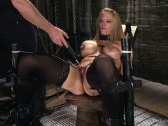 Lazy blonde slave gets an uncouth punishment for not doing her homework