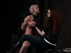 Crying blonde begs mistress to torment her beaver instead of whipping her