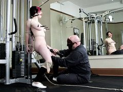 Beauty is taken by master to endure his grueling pussy workout at the gym