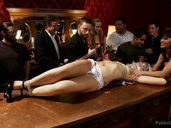 Cute brunette receives explicit humiliation during a public wine tasting session