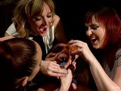 Three mistresses made stud consumed a bottle of Viagra before hardcore punishment