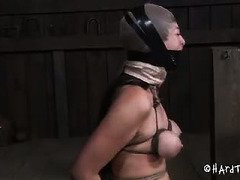 Demure Asian is drooling excessively and eyes tearing up from her gagging punishment
