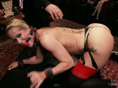 Two blonde slaves are begging for their members to let them experience orgasms