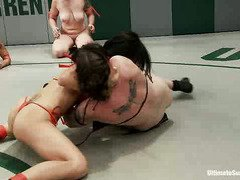 Exciting and explicit interracial wrestling with gorgeous babe fighters