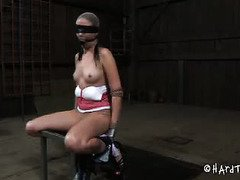 Bounded and suspended slave begs to suck master's cock instead of getting punished
