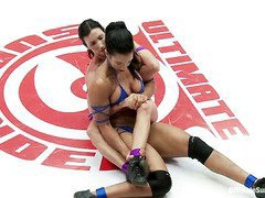 Tough beauty removes her sultry opponent's bikini during their explicit wrestling