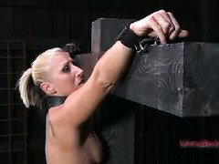 Alluring blonde sweetheart tolerates master's despicable bondage punishment