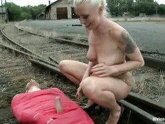 Blonde mistress gives her European pet slave a grueling outdoor punishment