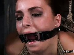 Stunning brunette is turned into a submissive piggy pet by demanding master