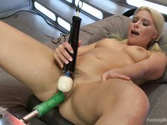 Sweet blonde's trimmed pussy is totally sated and tingly with ecstatic delight