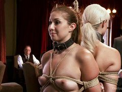 Two slave beauties are getting punished to impress the patrons of the house