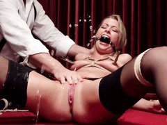 Blonde is punished till she squirts out uncontrollably from losing a poker game