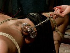 Tough hunk is tortured by two lusty dominatrices for not appreciating them fully