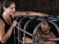Babe is squirming with frightful fear from mistress awfully painful electro-play