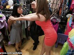 Voluptuous Asian fuck doll is treated like a whore inside a costume shop