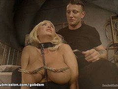 Big tits blonde is surrendering herself totally to become hunk's fuck slave