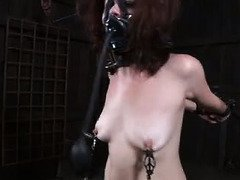 Master's twisted tormenting is causing great agony and pleasure for pretty slave