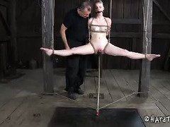 Old master is taking away young blonde slave's sweet innocence with his punishment