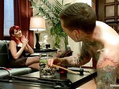 Sexy redhead siren wants tattooed stud's cock for her birthday celebration