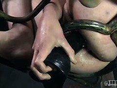 Hot slave is willing to suffer pussy abuse for the pleasures of her members