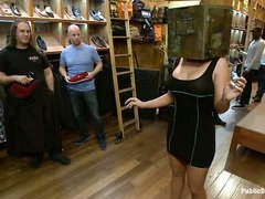 Raunchy and crude public punishment for sweet blonde at a shoe store