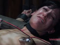Stunning beauty is getting pretty emotional from her bondage punishment
