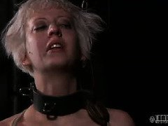 Demure blonde's face is full of snort after suffering from a tenacious punishment