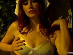 Stunning redhead nurse gives hunk an excruciating sounding healing session