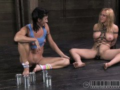 Lovely slave babes are given a grueling rope punishment after their meal
