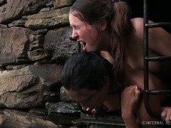 Caged  slave beauties are tormented with water and left outside in the cold