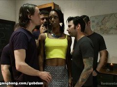 Charming ebony has to receive gangbang cleansing to enter the dark realm