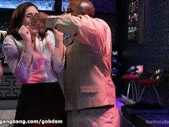 Lovely bartender receives a brutal gangbang as a reward for her hardwork