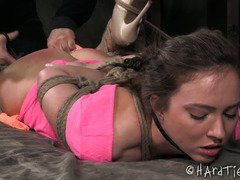 Rough ass spanking and deep fingering imbibes ecstatic delight for bounded babe