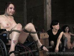 Bounded brunette gets a pain electro-shock each time she gives the wrong answer