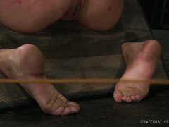 Bounded and gagged beauty suffers painful caning from despicable master