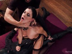 Raven-haired slave undergoes vigorous pussy training in order to serve the house