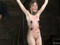 Bounded slave receives a rough beating punishment during her lusty sins confession