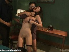 Petite and demure Asian babe gets an uncouth gangbang after a gambling session