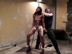 Gorgeous choco darling slave needs to learn the power of orgasms control