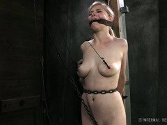 Two gorgeous and naughty blonde slaves in bondage are given a rough punishment