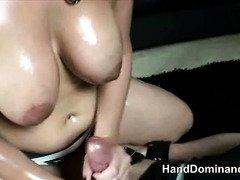 amazing femdom gives stunning handjob