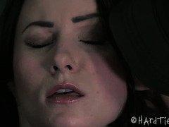 Bounded dark-haired sweetheart is enjoying master's lusty neck chocking